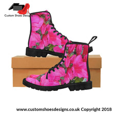 Pink Flowers Martin Boots For Women (Black) (1203H)