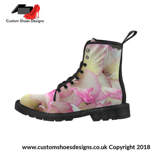 Pink And White Flowers Martin Boots For Women (Black) (1203H)