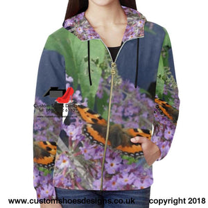 Butterfly All Over Print Full Zip Hoodie For Women (H14)