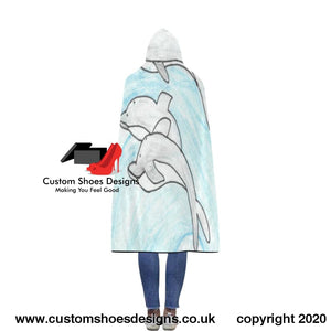 Dolphins Flannel Hooded Blanket 56X80 New