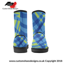 Blue & Green High Top Unisex Snow Boots Custom (047)