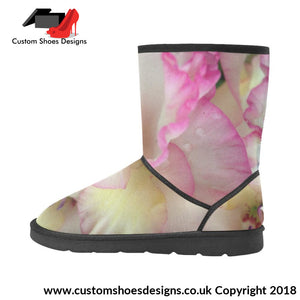 Pink And White Flowers High Top Unisex Snow Boots Custom (047)