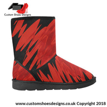 Red High Top Mens Snow Boots Custom (047)