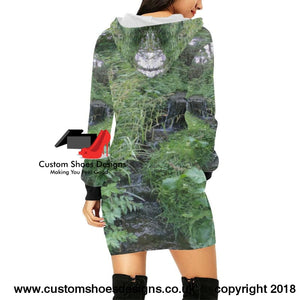 Water Fall All Over Print Hoodie Mini Dress (H27)