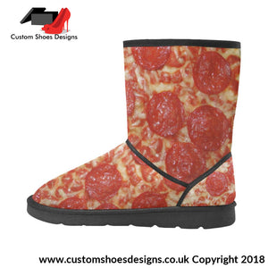 Pizza High Top Unisex Snow Boots Custom (047)