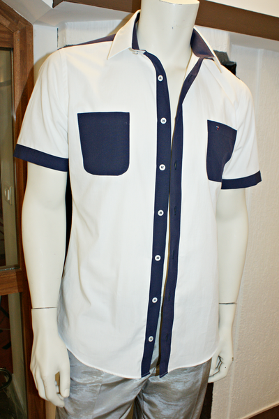 Men's Shirt - straight cut -Bright White and Deep Blue