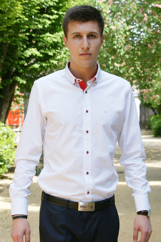 Men's fitted shirt - Bright White and Intense Red