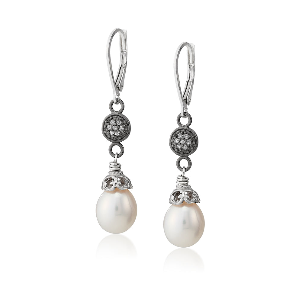 Peral Teardrop and Pave Diamond Earring