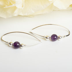 Sterling Silver Earring With Amethyst Accent