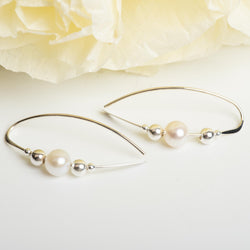 Sterling Silver Earring With Pearl Accent