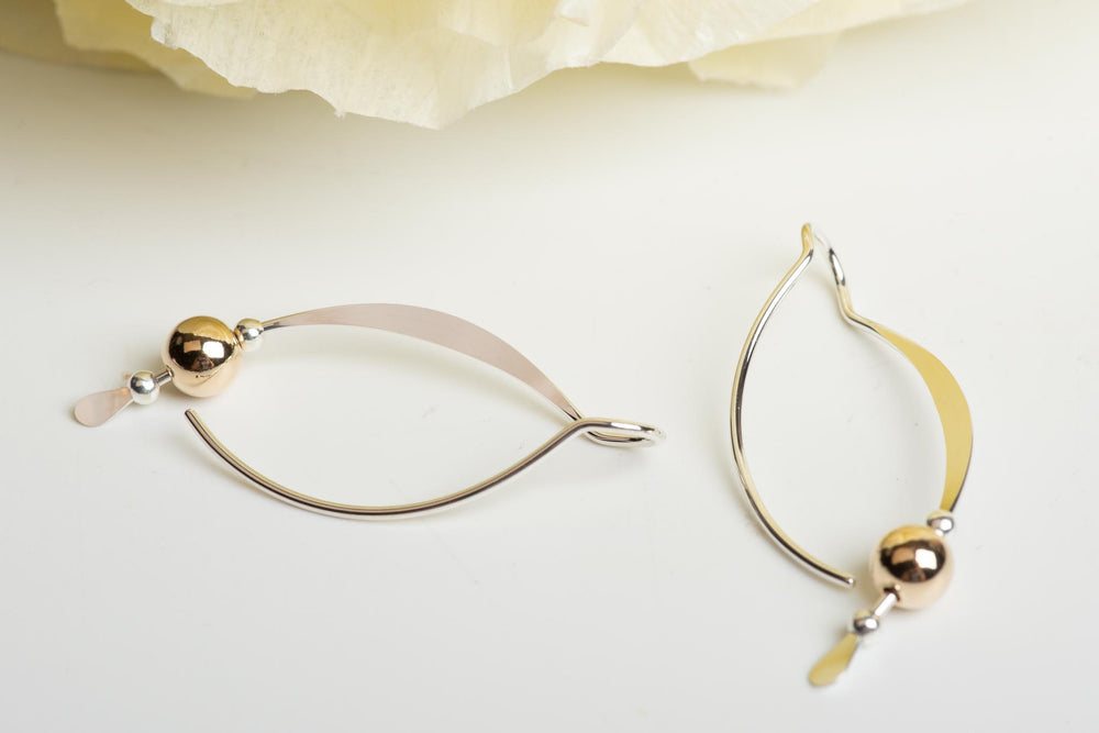Sterling Silver Earring With Gold Ball Accent