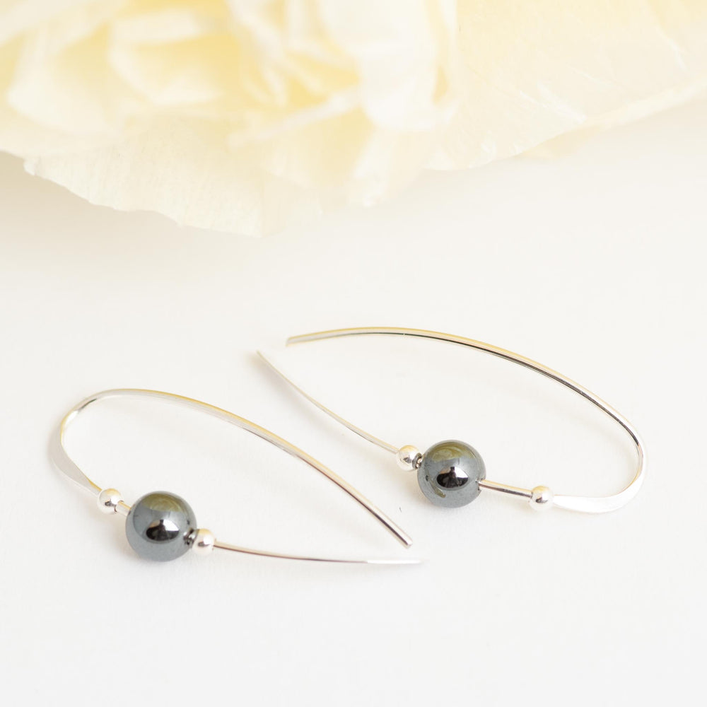 Sterling Silver Earring With Hematite