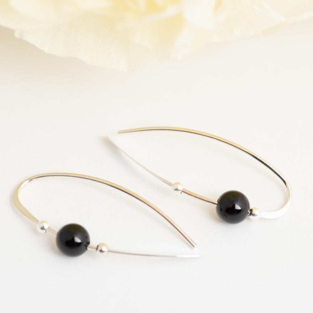 Sterling Silver Earring With Onyx