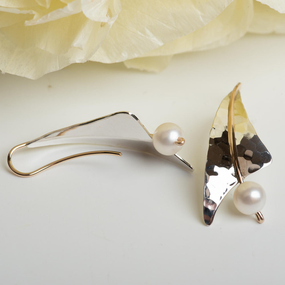 Hammered Drop Earring With Pearl