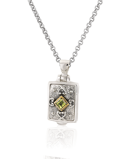 Small Peridot Locket Necklace