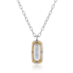 Mother of Pearl Doublet Vermil Pendant Necklace