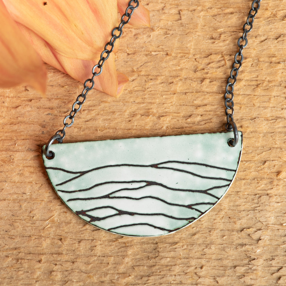 Green Rolling Hills Moon Necklace