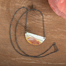Pink Rolling Hills Moon Necklace