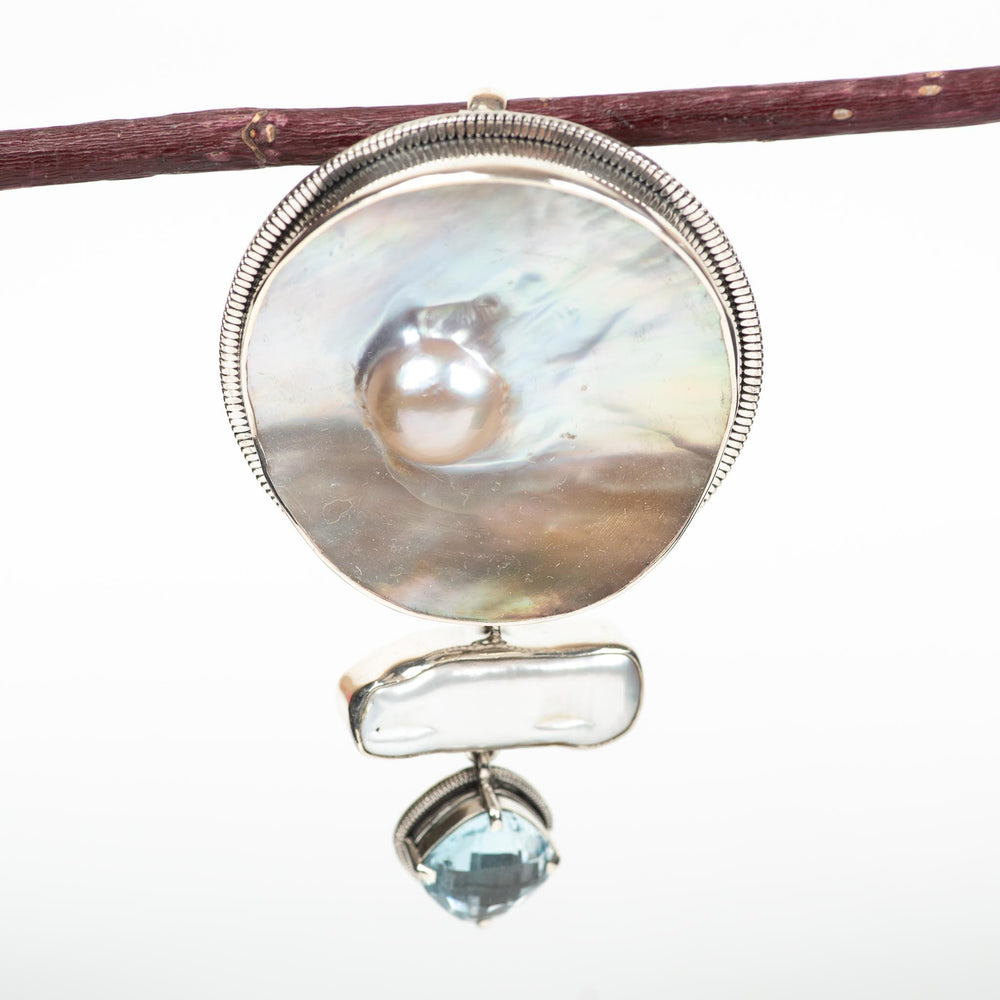 Pearl and Blue Topaz Pendant Pin