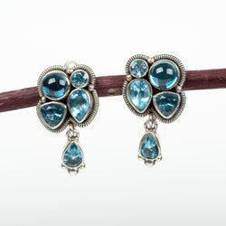 Blue Topaz Cluster Clip On Earrings