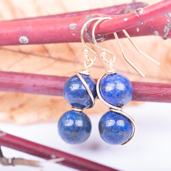 Figure-8 Round Lapis Earrings