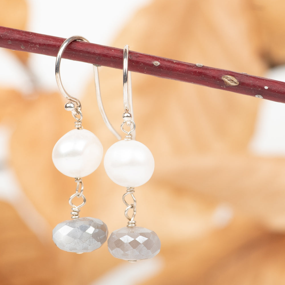 Pearl and Moonstone Dangles