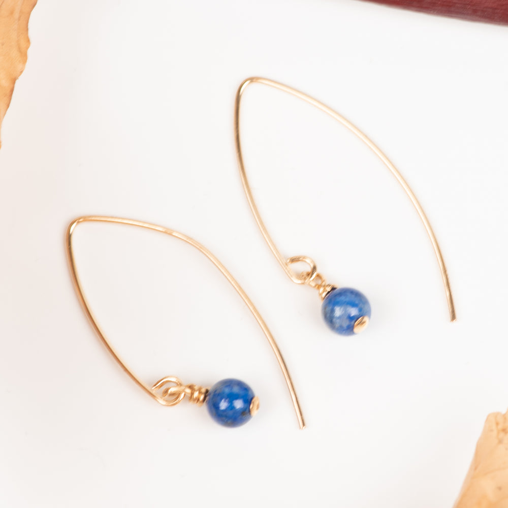 Small Round Lapis On Marquise Hooks