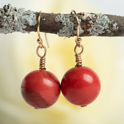 Round Red Coral Earrings