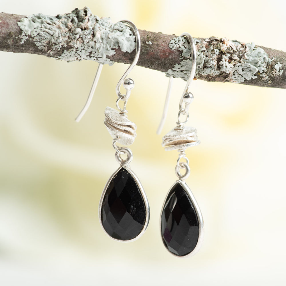 Onyx Teardrop Earrings With Accents