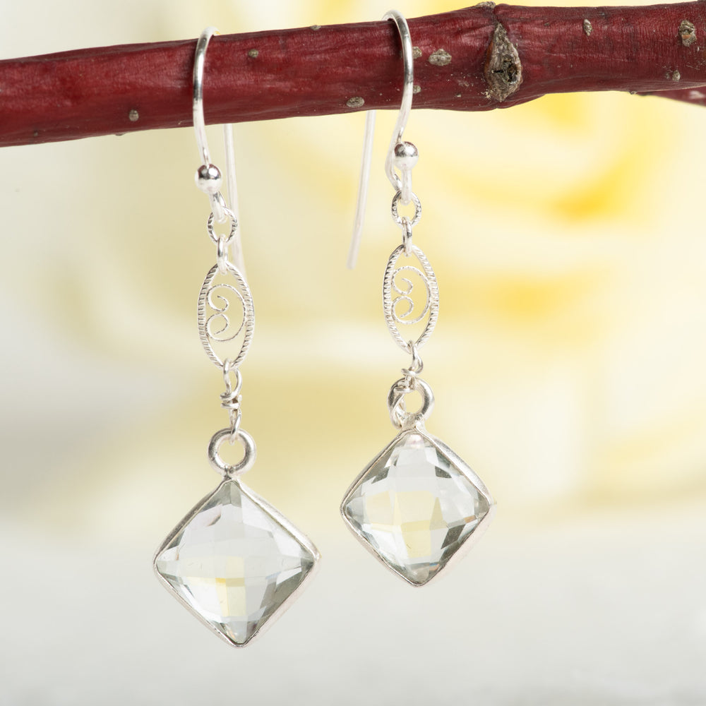 Quartz Earrings With Scroll Accent
