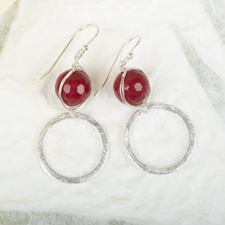 Ruby Jade Earrings With Textured Circle