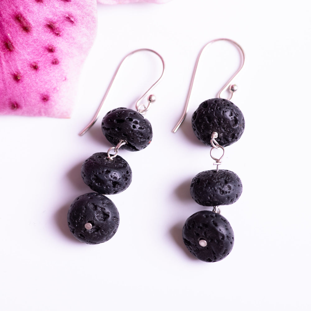 Lava Stone Triple Stack Earrings