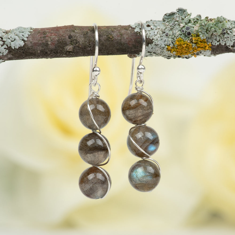 3-Stone Labradorite Earrings