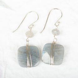 Wrapped Labradorite Earrings With Accent