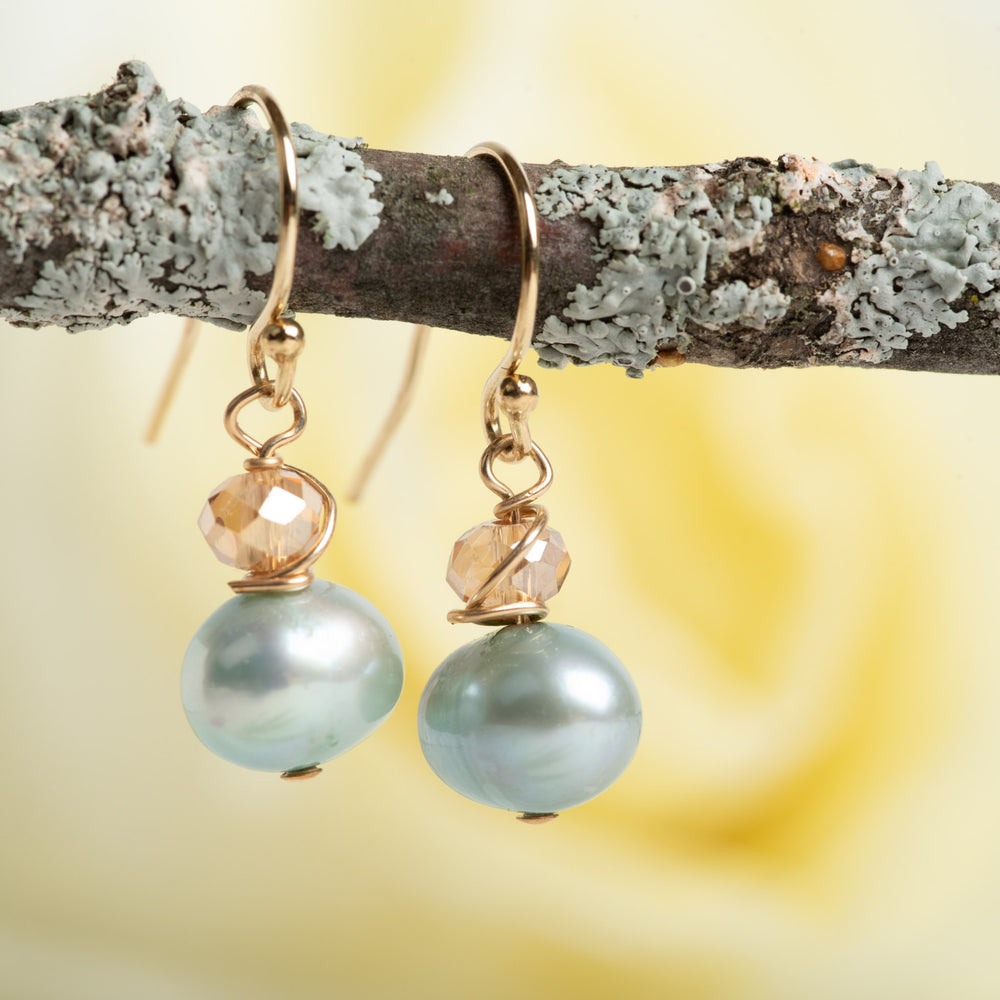 Blue Pearl and Crystal Earrings