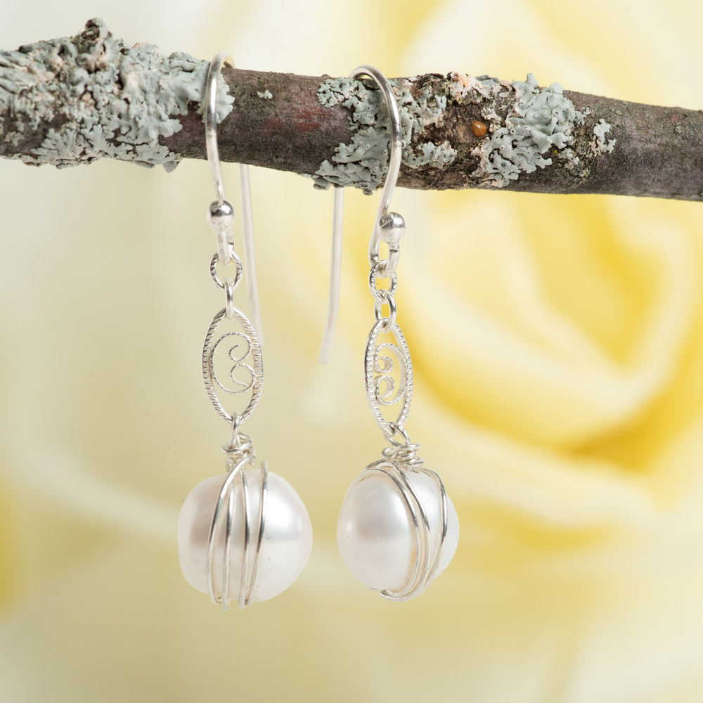 Pearl With Scroll Accent Earrings