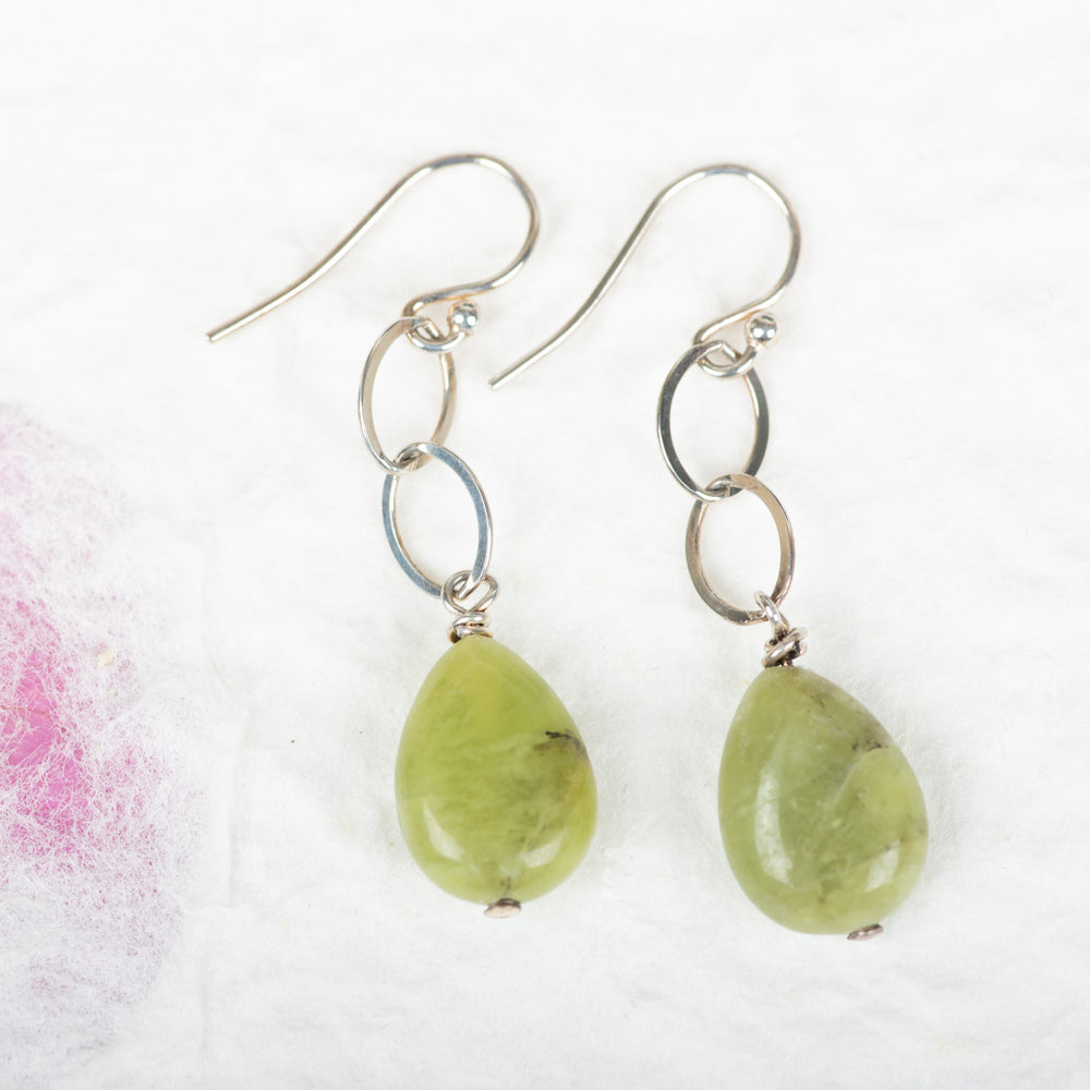 Prehnite With Chain Earrings