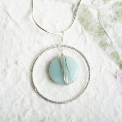 Amazonite Coin Necklace in Circle