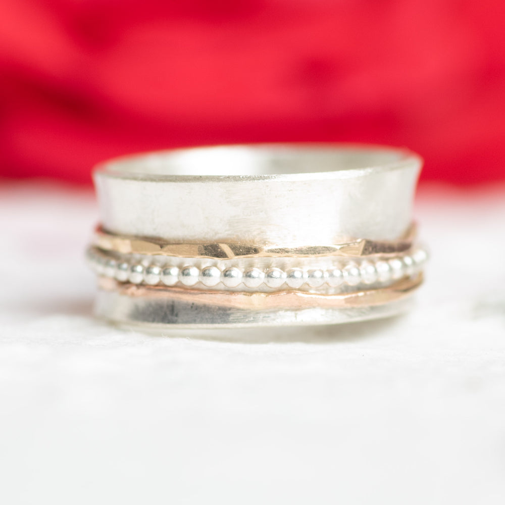 Sterling Silver N Gold Fill Spinner Ring Size 5.75