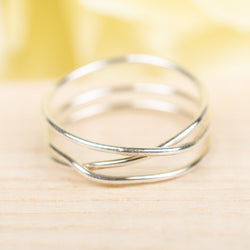3-Wrap Sterling Silver Ring, Size 8.5