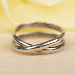 2-Wrap Oxidized Sterling Ring, Size 8.25