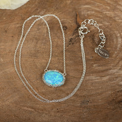 Oval Sea Opal Necklace