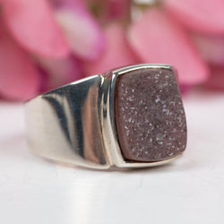 Purple Druzy Ring Size 8