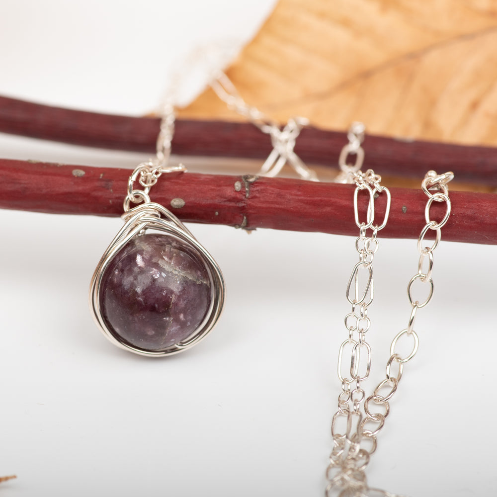 Braid-Wrapped Lepidolite Necklace