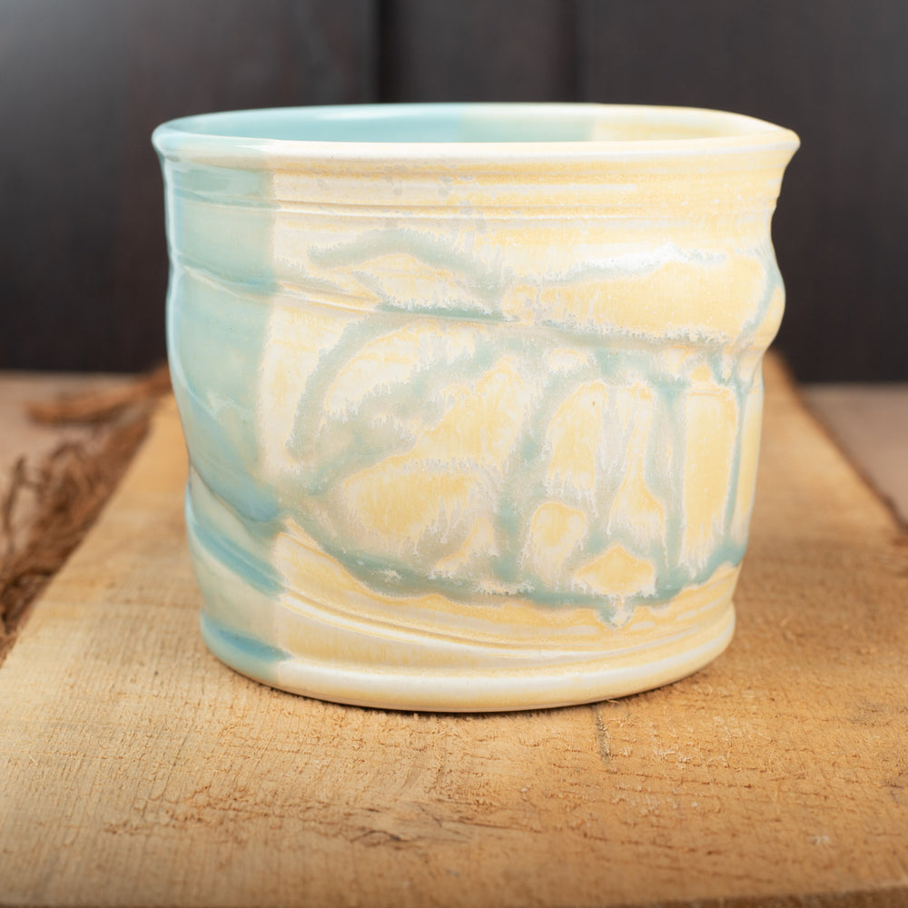 Canister in Buttercup and Celadon