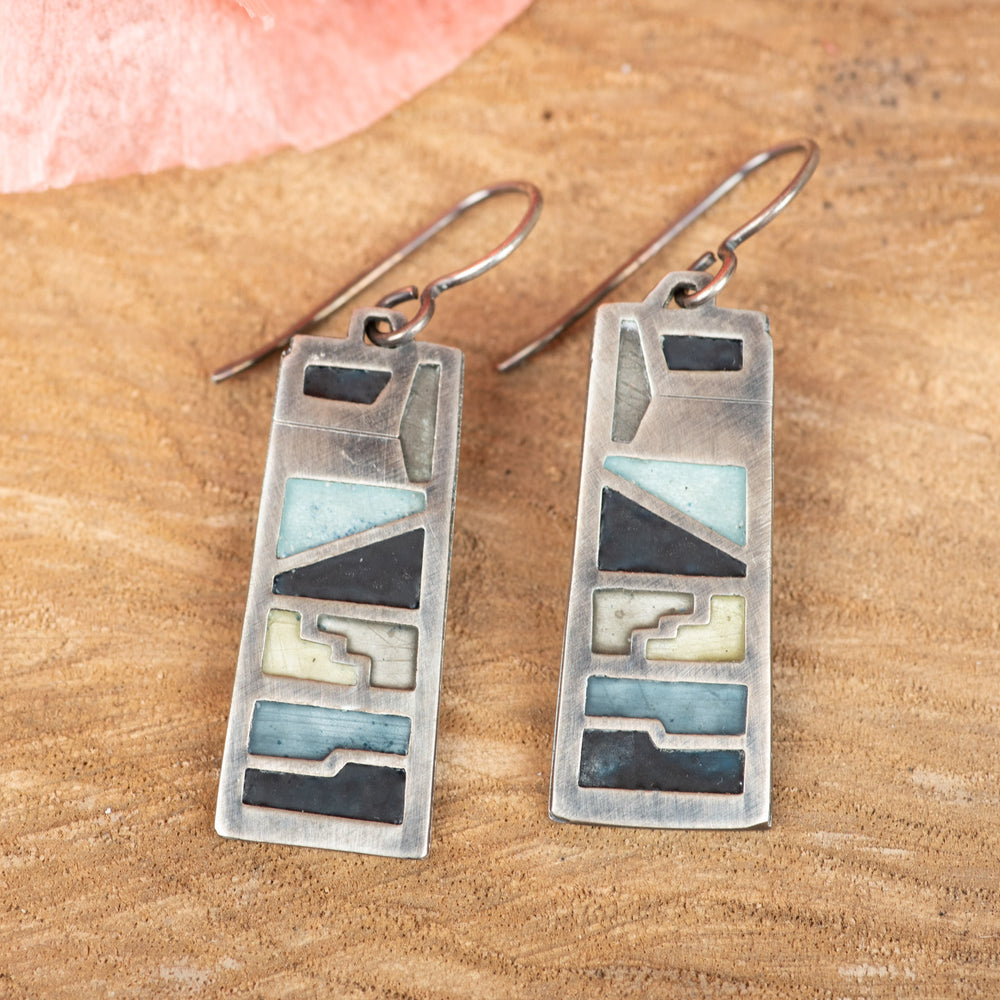 Long Rectangle Enamel Earring