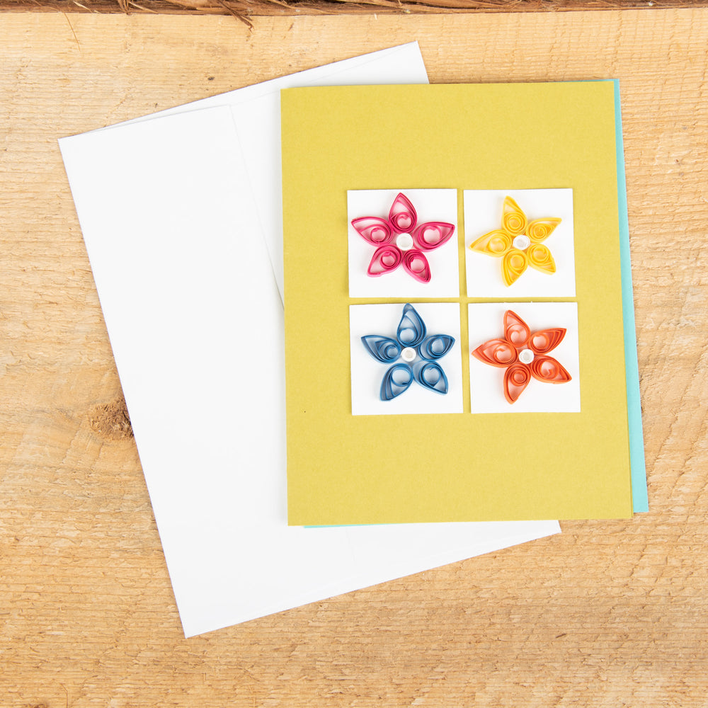 Four Flowers On Squares Quilled Card