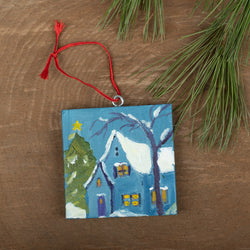 Winter Scene Ornament: Blue House