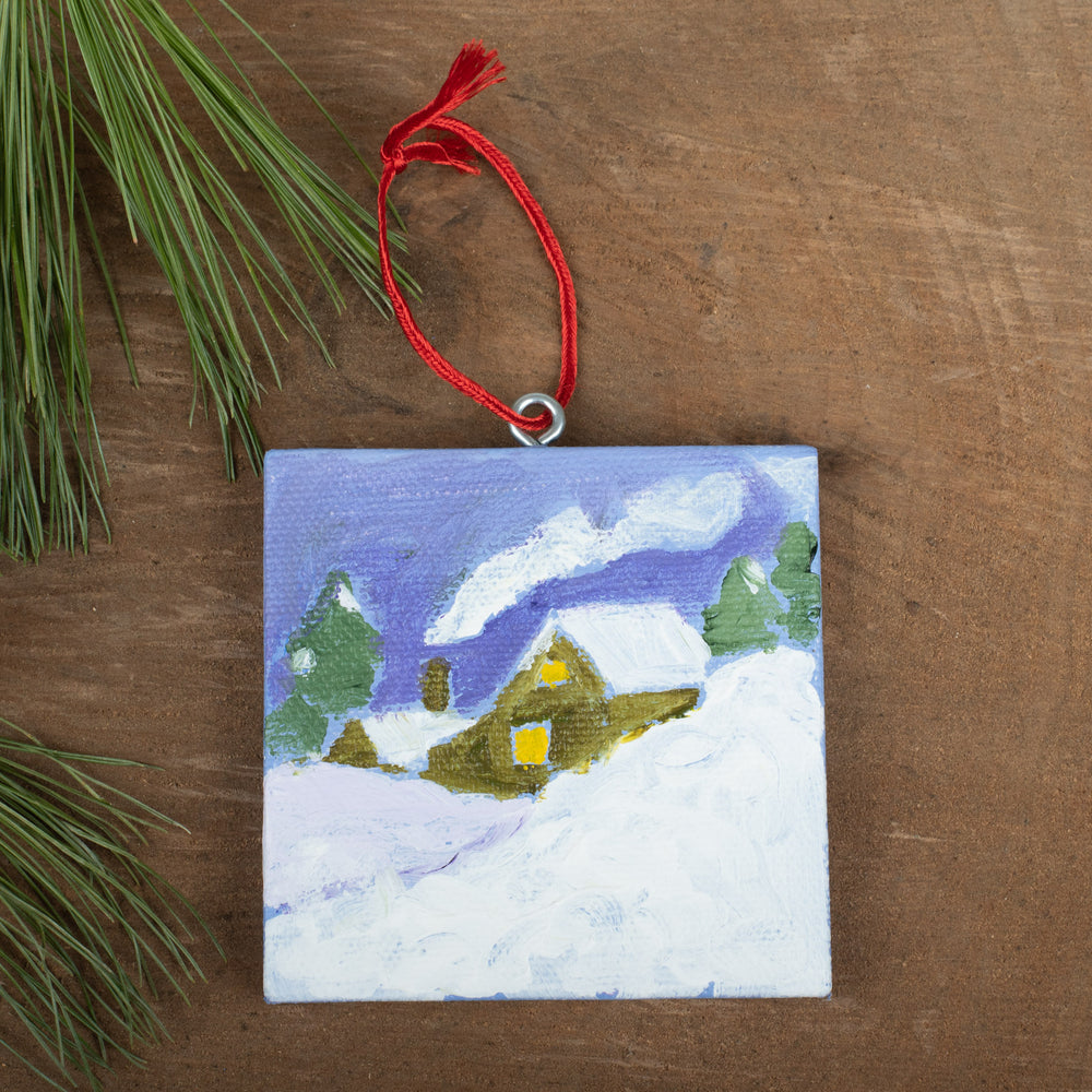 Winter Scene Ornament: House in Hills