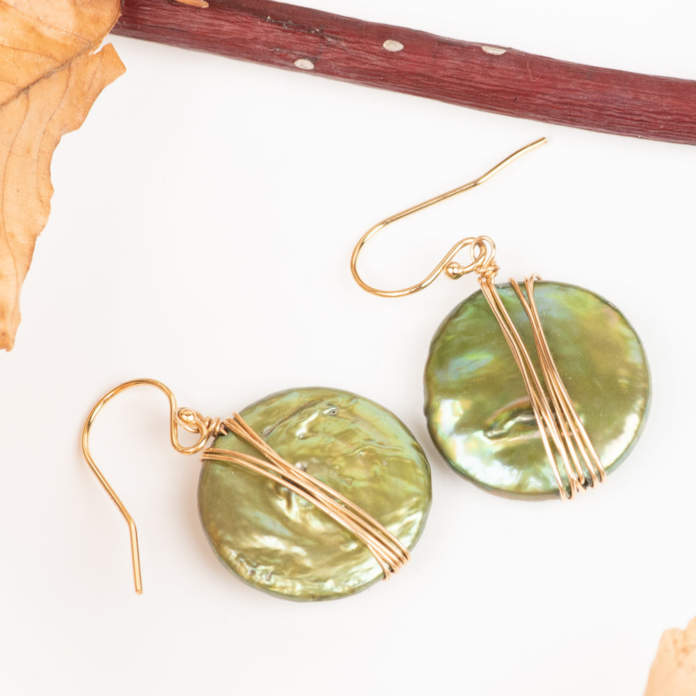 Green Coin Pearl Earring